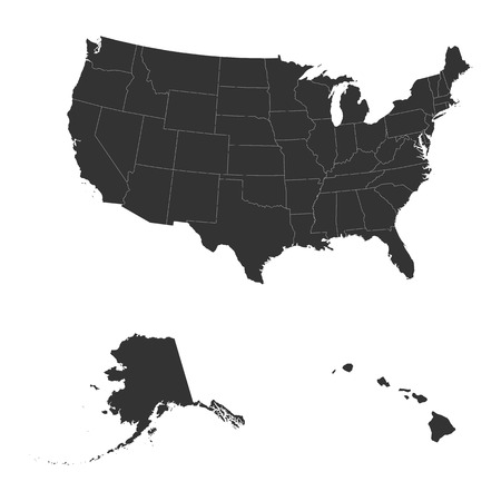 The detailed map of the USA including Alaska and Hawaii. The United States of America