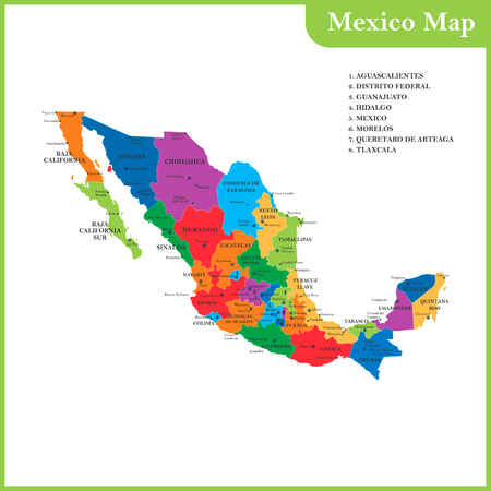 mainland: The detailed map of the Mexico with regions or states and cities, capitals