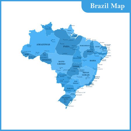 mainland: The detailed map of the Brazil with regions or states and cities, capitals