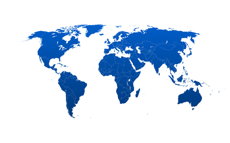 Detailed world map with counties and borders. Each country in a separate layer