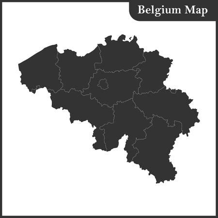 The detailed map of the Belgium with regions Ilustração