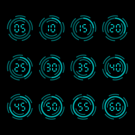 digital countdown timer with five minutes interval royalty free