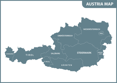 The detailed map of the Austria with regions
