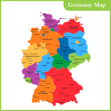 84214445 the detailed map of the germany with regions or states and cities capitals