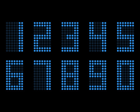 Digital table neon font with grid. Vector LED nubmers Illustration