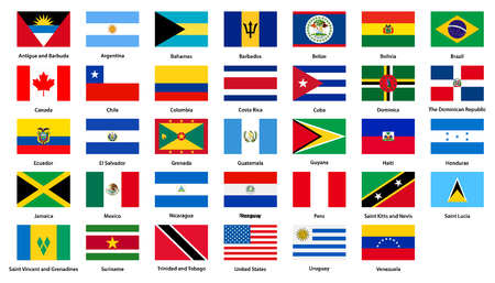 Flags of all countries of the American continents Illustration