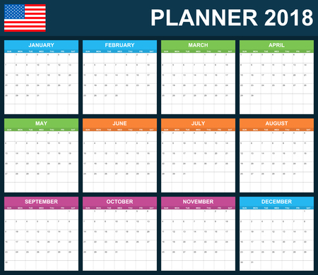 scheduler: USA Planner blank for 2018. Scheduler, agenda or diary template. Week starts on Sunday. Illustration