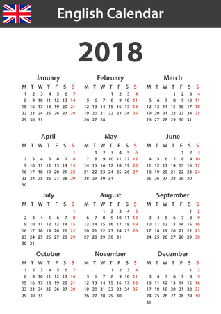 English Calendar for 2018. Scheduler, agenda or diary template. Week starts on Monday Illustration