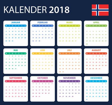 scheduler: Norwegian Calendar for 2018. Scheduler, agenda or diary template. Week starts on Monday