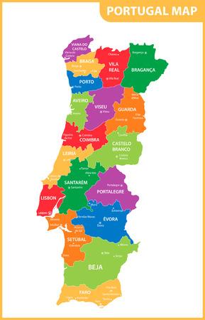 De gedetailleerde kaart van Portugal met regio's of staten en steden, hoofdsteden