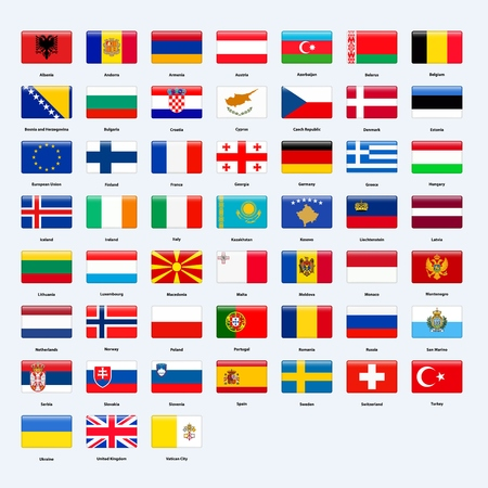 Set of flags of all countries of Europe. Rectangle glossy style.