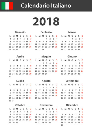 Italian Calendar for 2018. Scheduler, agenda or diary template. Week starts on Monday Stock Illustratie