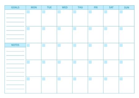 scheduler: Empty Planner. Scheduler, agenda or diary template. Week starts on Monday