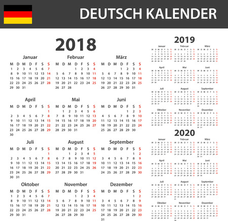 scheduler: German Calendar for 2018, 2019 and 2020. Scheduler, agenda or diary template. Week starts on Monday Illustration