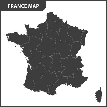The detailed map of the France with regions