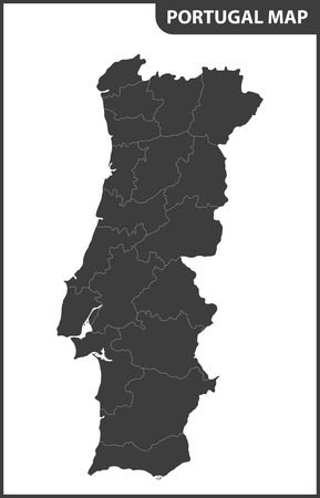 The detailed map of the Portugal with regions