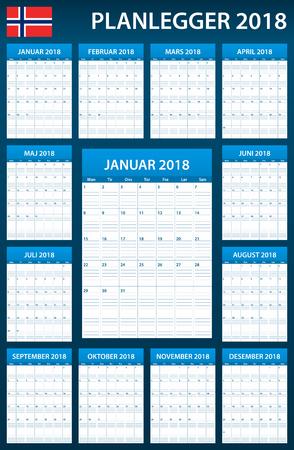scheduler: Norwegian Planner blank for 2018. Scheduler, agenda or diary template. Week starts on Monday