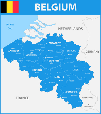 84214690 the detailed map of the belgium with regions or states and cities capitals