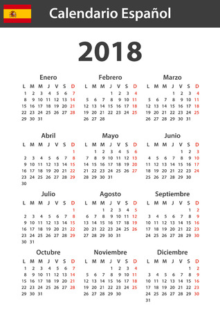Spanish Calendar for 2018. Scheduler, agenda or diary template. Week starts on Monday  イラスト・ベクター素材