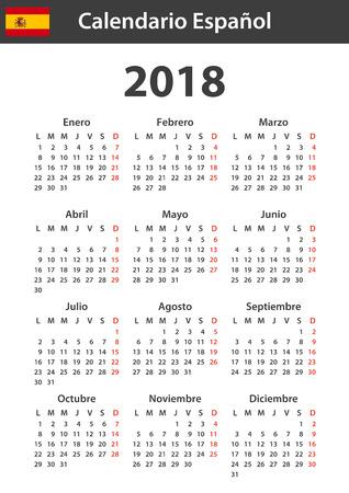 Spanischer Kalender für 2018. Planer, Tagesordnung oder Tagebuchvorlage. Woche beginnt am Montag Standard-Bild - 84214691