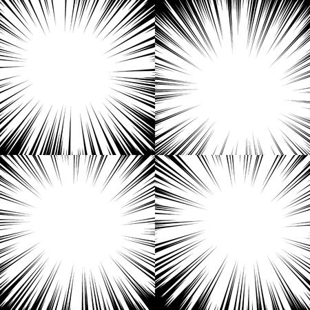 Comic book radial lines background. Manga speed frame. Explosion vector illustration. Illustration