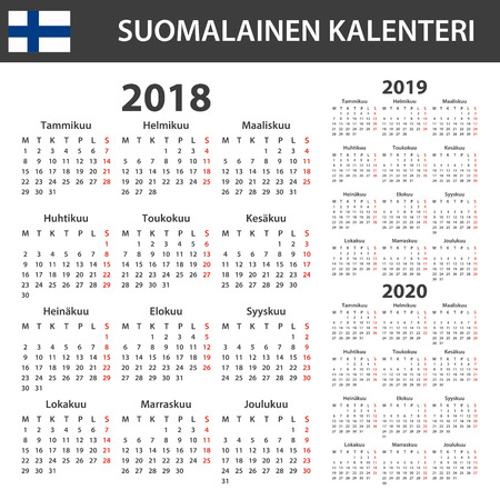 Finnish Calendar for 2018, 2019, 2020. Scheduler, agenda or diary template. Week starts on Monday Illustration