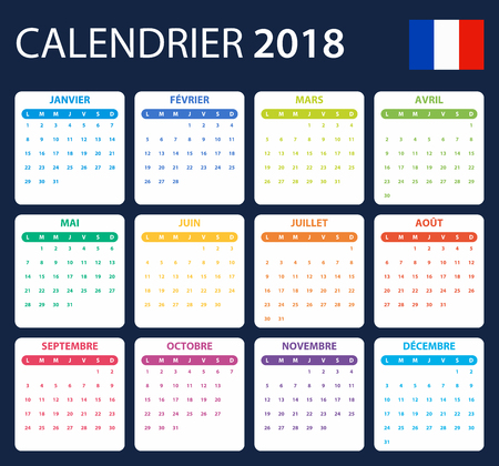 French Calendar for 2018. Scheduler, agenda or diary template. Week starts on Monday