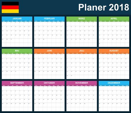 scheduler: German Planner blank for 2018. Scheduler, agenda or diary template. Week starts on Monday
