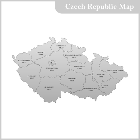 The detailed map of the Czech Republic with regions or states Illustration
