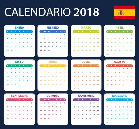 scheduler: Spanish Calendar for 2018. Scheduler, agenda or diary template. Week starts on Monday Illustration