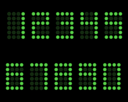 electric grid: Digital table neon font with grid. Vector LED nubmers Illustration