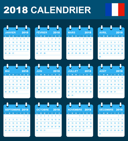 scheduler: French Calendar for 2018. Scheduler, agenda or diary template. Week starts on Monday