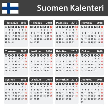scheduler: Finnish Calendar for 2018. Scheduler, agenda or diary template. Week starts on Monday