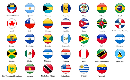 Flags of all countries of the American continents 向量圖像