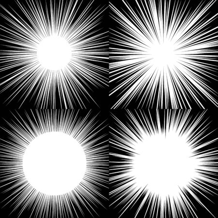 Comic book radial lines background. Manga speed frame. Explosion vector illustration. Illustration