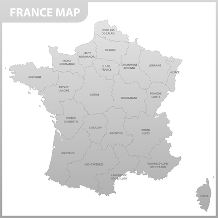 The detailed map of the France with regions or states 向量圖像