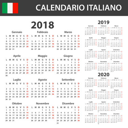 Italian Calendar for 2018, 2019 and 2020. Scheduler, agenda or diary template. Week starts on Monday