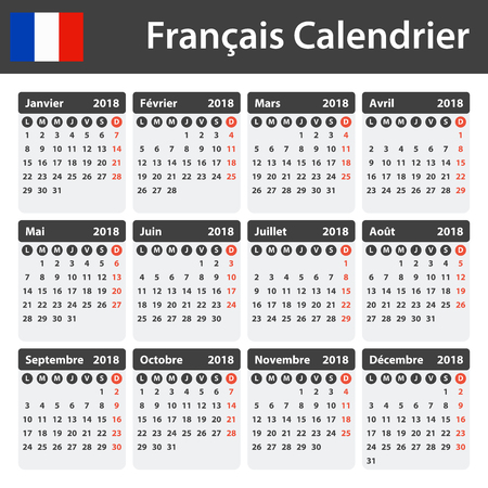 French Calendar For 2018 Scheduler Agenda Or Diary Template