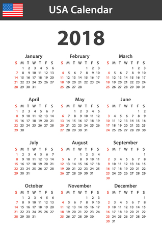 scheduler: USA Calendar for 2018. Scheduler, agenda or diary template. Week starts on Sunday