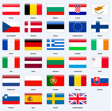 ireland flag: All flags of the countries of the European Union. Rectangle glossy style.