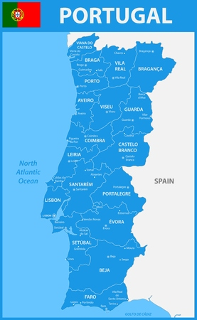 gaia: The detailed map of Portugal with regions or states and cities, capitals. Illustration