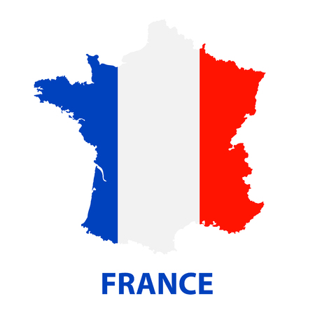 The detailed map of the France with flag 向量圖像