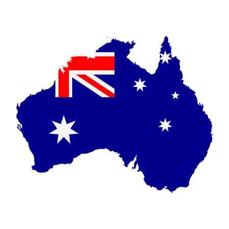 The detailed map of the Australia with National Flag Vectores