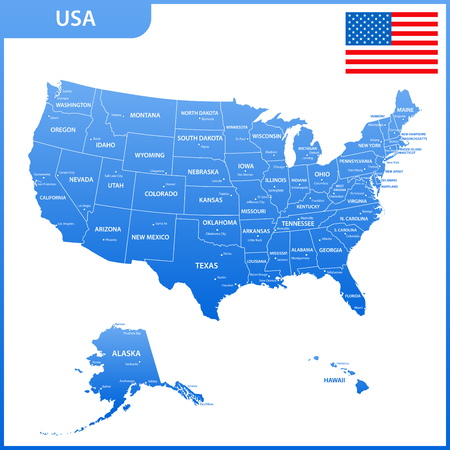 The detailed map of the USA with regions or states and cities, capital. United States of America with national flag Illustration