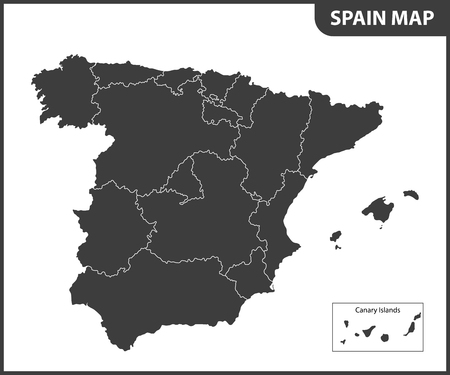 The detailed map of the Spain with regions
