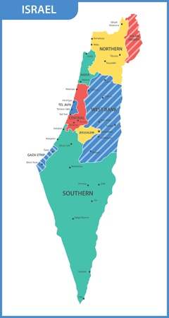 The detailed map of the Israel with regions or states and cities, capitals Stok Fotoğraf - 91116892