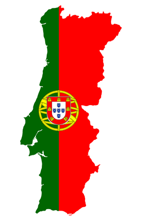 The detailed map of the Portugal with National Flag