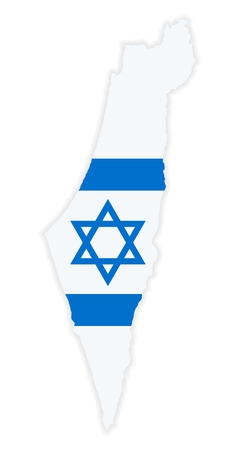 The detailed map of the Israel with National Flag