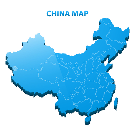 Highly detailed three dimensional map of China with regions border