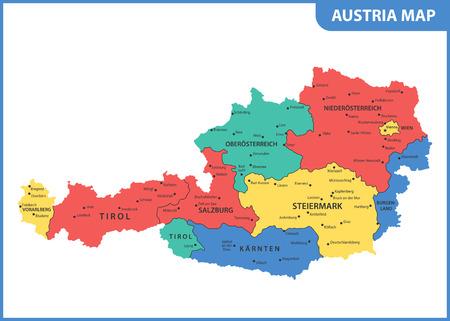 De gedetailleerde kaart van Oostenrijk met regio's of staten en steden, hoofdstad